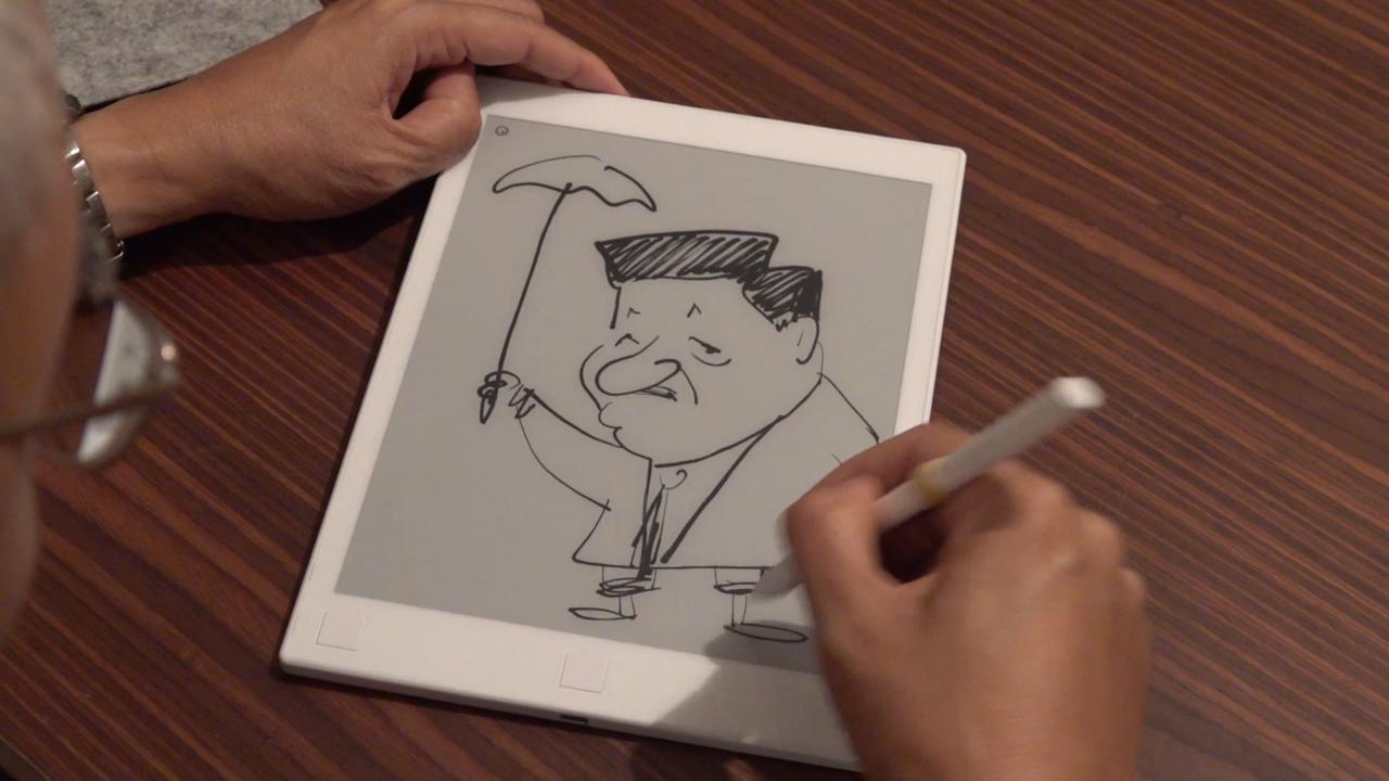 尊子筆下的中國國家主席習近平。(張展豪 攝)