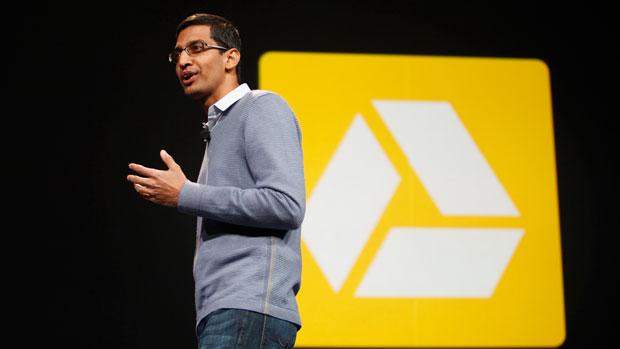 2012年6月28日,時任谷歌Chrome負責人桑達·皮采(Sundar Pichai)在谷歌的周年開發大會上介紹谷歌雲端硬盤服務。(法新社)