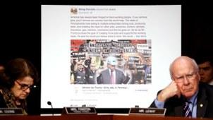 2017年10月31日,美国参议院就俄罗斯利用社交媒体干预2016年美国总统选举举行听证会。(路透社)