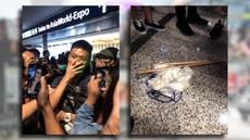 一名疑似大陆便衣公安,周二(13日)在香港国际机场出现引发混乱,其白色背包发现有木棍,外观类近武术兵器的双截棍。。(脸书截图)