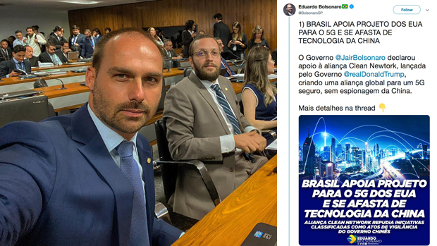 巴西眾議院外交關係委員會主席愛德華多‧博索納羅(Eduardo Bolsonaro)23日(周一)在推特發文支援美國「清潔網路」。(愛德華多‧博索納羅臉書圖片)
