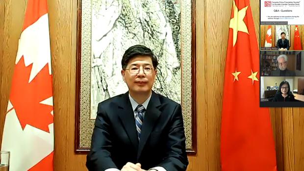 2020年10月15日,中國駐加拿大大使叢培武,在中加建交50周年發布會上,以在港30萬加拿大公民的安全威脅,要求加國政府不要給予香港人政治庇護。(中國外交部網站圖片)