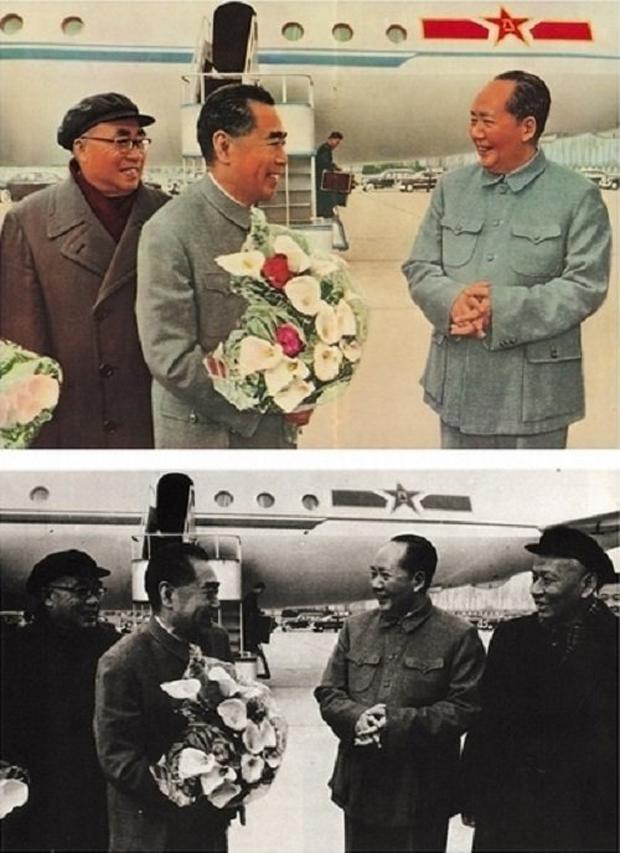 強國國家主席劉少奇倒台後,在許多官方照片之中,劉少奇都「被消失」。(網絡圖片)