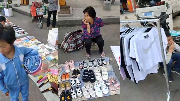 外資撤離,民企倒閉,中國很多居民因此以擺地賺取微博的收入為維生。(志願者提供短片截圖)