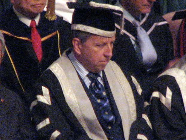 香港大學校長馬斐森在開學典禮上強調,尊重學術自由。可惜,在副校長委任事件上,他感到有外來的政治干預。(劉雲攝、2015年9月)