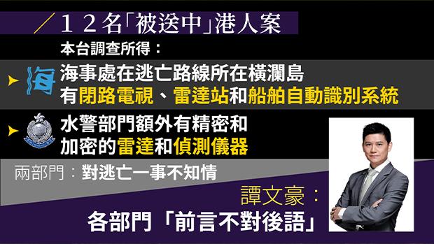 譚文豪批評各部門對港人逃亡一事「前言不對後語」。(粵語組製圖)