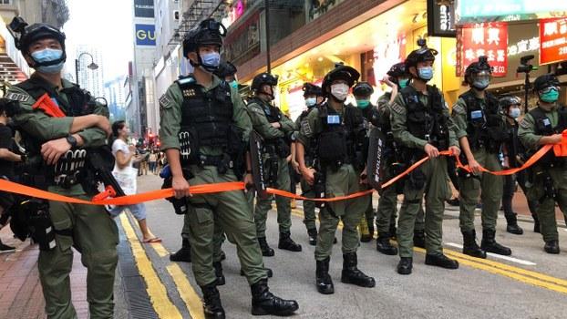 在中國「國慶日」,香港警方嚴陣以待。(鄧穎韜 攝)