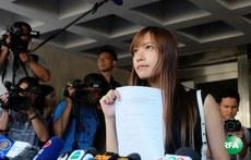 2016年11月15日,游蕙禎到法院領取判詞後見記者。(林國立攝)