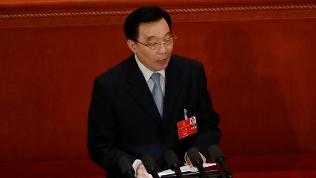 全國人大常委會副委員長王晨周五(22日)在人大會議上,公布了「港版國安法」的條文內容。(路透社)