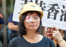 2019年8月14日,台联党前立委周倪安︰民进党政府应尽速通过难民法,收容受迫害香港人。(锺广政 摄)