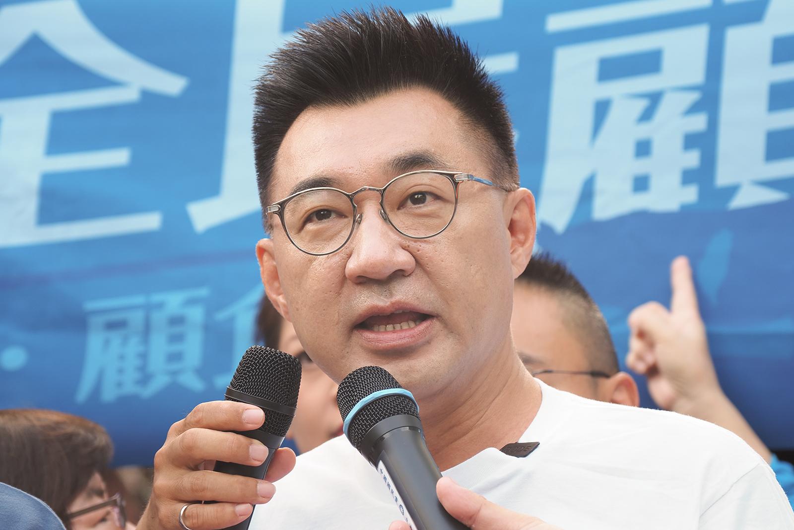 2020年9月14日,國民黨主席江啟臣:民進黨政府口口聲聲說撐香港,港人偷渡事件證明撐香港只是說說而已。(鍾廣政 攝)