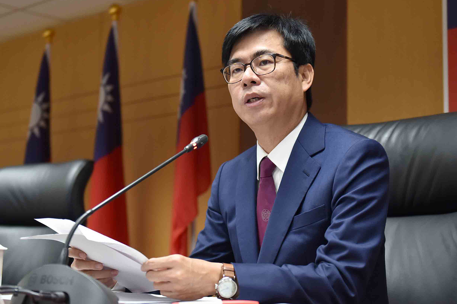 2020年11月16日,高雄市長陳其邁:RCEP簽署後,台灣產品在東南亞將面臨中國貨低價競爭。(高雄市政府提供)