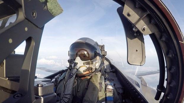 解放軍機周五(18日)多次越過海峽中線,台灣軍方派出F-16戰機升空攔截。(台灣國防部提供 / 2020年7月4日)