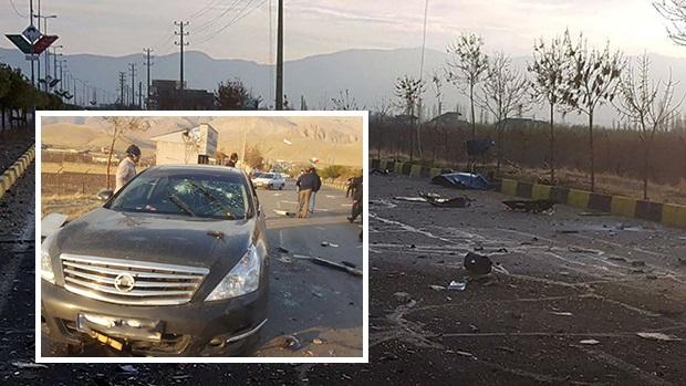 伊朗首席核科學家法赫里扎德遇襲現場一片凌亂,(小圖)為法赫里扎德乘坐的汽車。((路透社資料圖片)