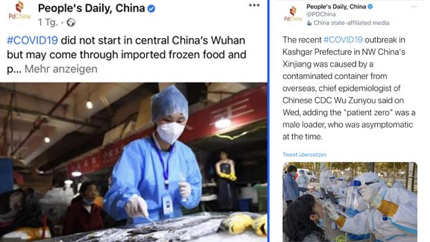 中共喉舌《人民日報》於11月25日、26日分別在社交媒體臉書和推特上發資訊,指武漢肺炎病毒並非源自武漢,而是源自進口冷凍食品鏈。(人民日報臉書和推特截圖)