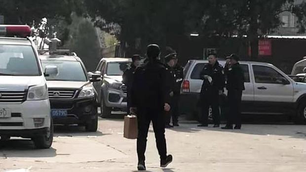 2020年11月11日,孫大午等人被抓走後,河北官方派出大批警力繼續在大午集團維穩。(知情人提供)