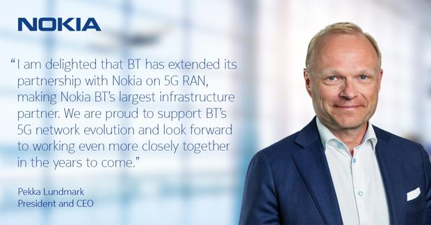 諾基亞總裁兼首席執行官佩卡•倫德馬克(PekkaLundmark)表示與英國電信公司擴大5G合作,期待未來更緊密合作。(諾基亞推特官方帳號圖片)