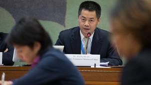 中国常驻联合国日内瓦办事处公使蒋端成为联合国人权理事会协商小组5名成员之一。(「联合国人权观察」组织推特图片)