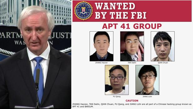 美國司法部副部長羅森(左)起訴書提到五名駭客(音譯)名叫張浩然、譚戴林、江立志、錢川和傅強。(網絡視頻截圖)