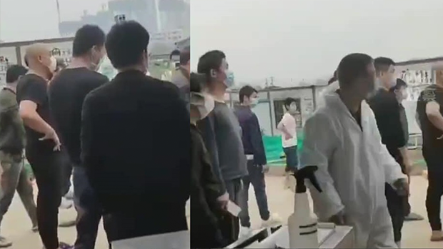 2020年3月24日,被困武漢一個多月的中建三局鉑公館項目工地的雷神山建設民工討要說法,和監管控制他們的保安爆發衝突。(工友提供)