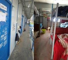 迄今為止,還有11名雷神山農民工被隔離在武漢古田大橋下的一處工地板房內。(工友提供 / 2020年4月6日)