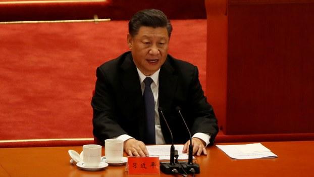 中國政府「抗美援朝戰70周年紀念大會」周五(23日)早上在北京舉行,中共總書記習近平發言。(路透社)